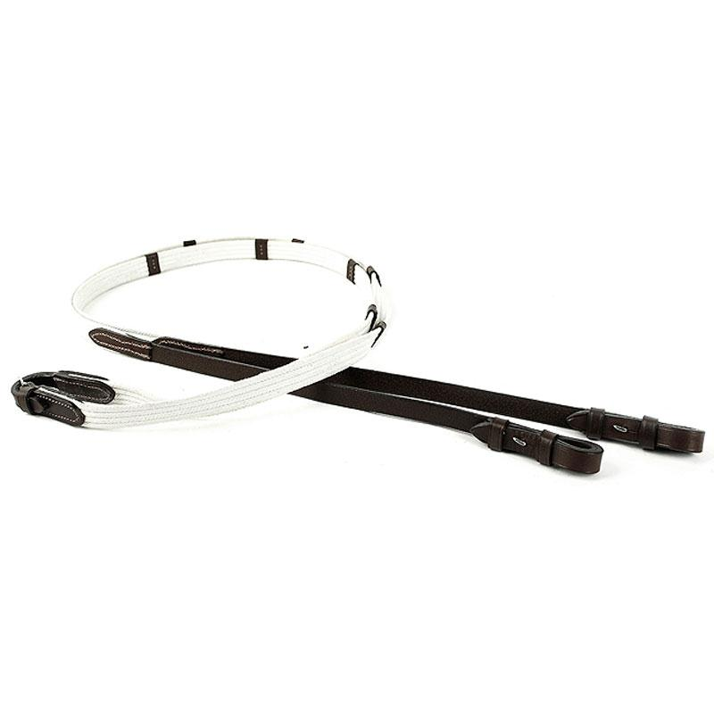 HBC  White cotton web reins with hb leather ends